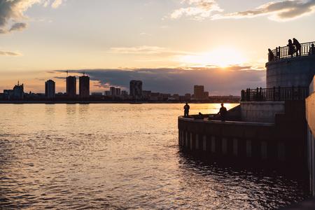 Riverside at sunset. Blagoveshchensk, Amur region, Russia