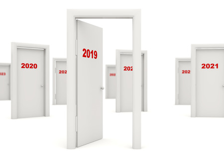 Door with 2019 New Year sign isolated on white. 3D illustration