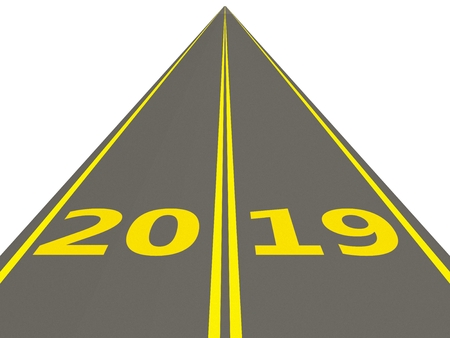 2019 New year sign on a road, 3D illustration