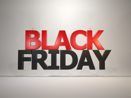 Sale and shopping concept. Black friday sign floating in the air. 3D illustration