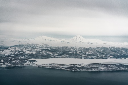 Coast line of the Pacific ocean. Kamchatka Peninsula, Russia Imagens