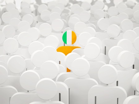 Man with flag of ireland in a crowd. 3D illustration 写真素材