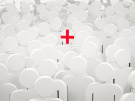 Man with flag of england in a crowd. 3D illustration