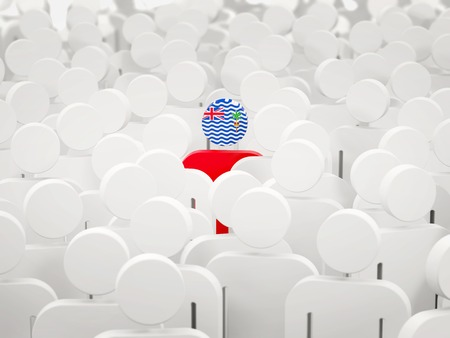 Man with flag of british indian ocean territory in a crowd. 3D illustration