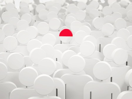 Man with flag of indonesia in a crowd. 3D illustration 写真素材