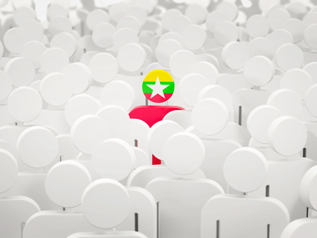 Man with flag of myanmar in a crowd. 3D illustration 写真素材