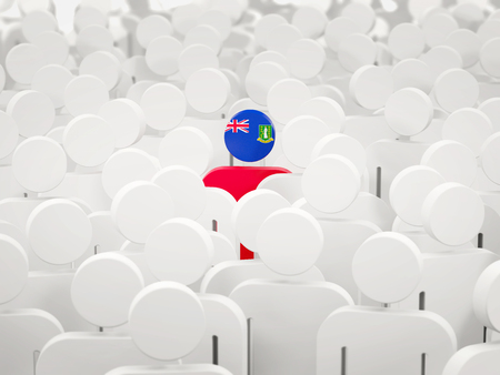 Man with flag of virgin islands british in a crowd. 3D illustration 写真素材