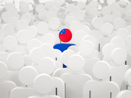 Man with flag of samoa in a crowd. 3D illustration