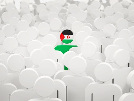 Man with flag of western sahara in a crowd. 3D illustration