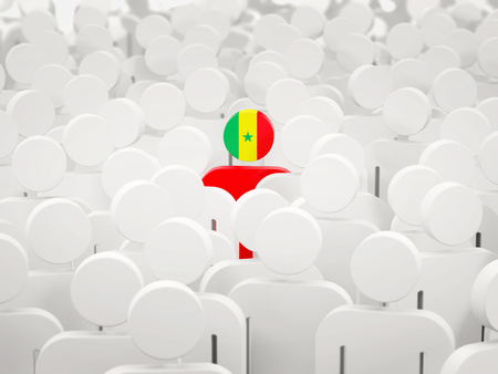 Man with flag of senegal in a crowd. 3D illustration