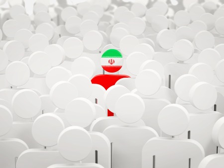 Man with flag of iran in a crowd. 3D illustration