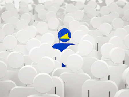 Man with flag of tokelau in a crowd. 3D illustration 写真素材