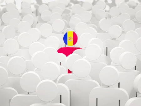 Man with flag of andorra in a crowd. 3D illustration