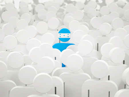 Man with flag of honduras in a crowd. 3D illustration