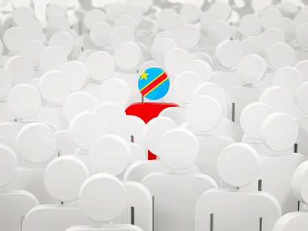 Man with flag of democratic republic of the congo in a crowd. 3D illustration