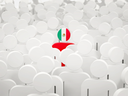 Man with flag of mexico in a crowd. 3D illustration