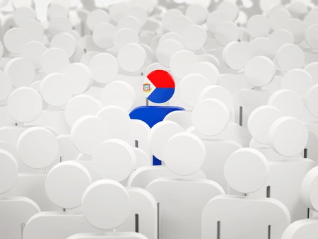 Man with flag of sint maarten in a crowd. 3D illustration