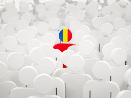 Man with flag of romania in a crowd. 3D illustration