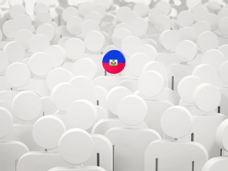 Man with flag of haiti in a crowd. 3D illustration