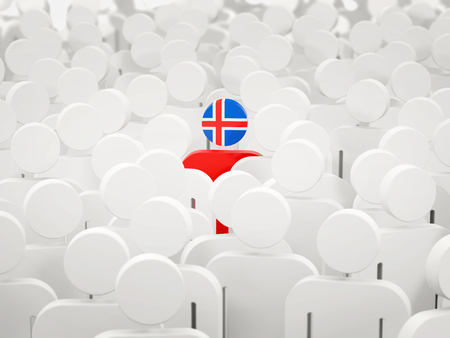 Man with flag of iceland in a crowd. 3D illustration 写真素材