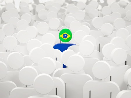 Man with flag of brazil in a crowd. 3D illustration Imagens