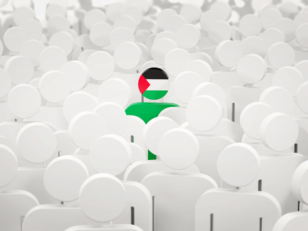 Man with flag of palestinian territory in a crowd. 3D illustration
