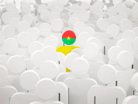 Man with flag of burkina faso in a crowd. 3D illustration
