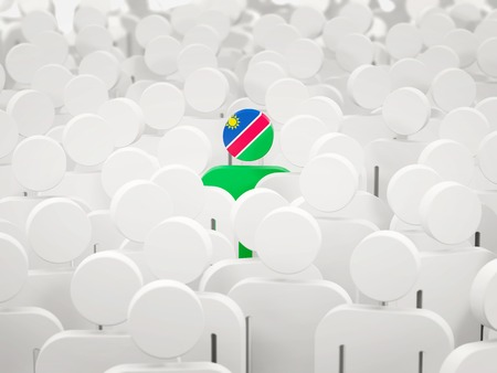 Man with flag of namibia in a crowd. 3D illustration
