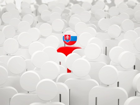 Man with flag of slovakia in a crowd. 3D illustration