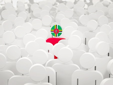 Man with flag of dominica in a crowd. 3D illustration