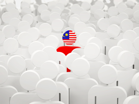 Man with flag of malaysia in a crowd. 3D illustration