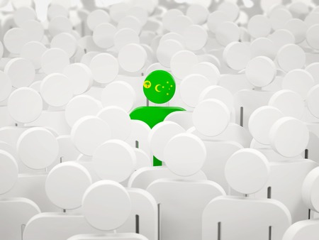 Man with flag of cocos islands in a crowd. 3D illustration