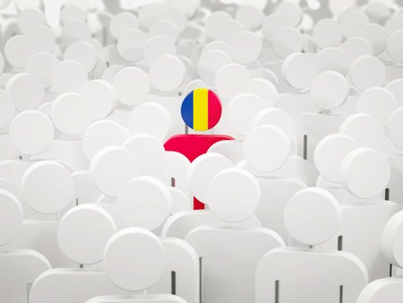 Man with flag of chad in a crowd. 3D illustration