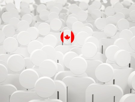 Man with flag of canada in a crowd. 3D illustration