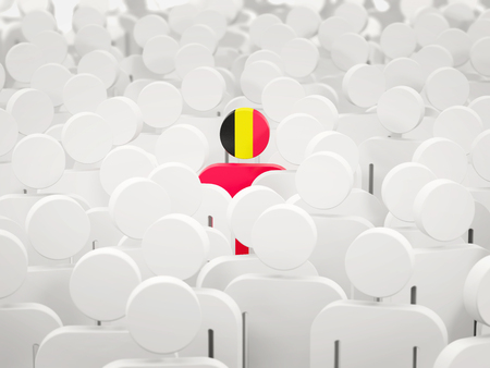 Man with flag of belgium in a crowd. 3D illustration