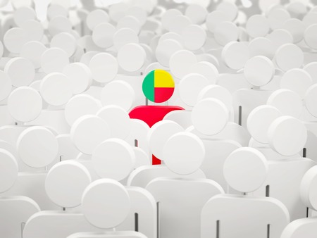Man with flag of benin in a crowd. 3D illustration