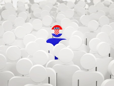 Man with flag of croatia in a crowd. 3D illustration 写真素材