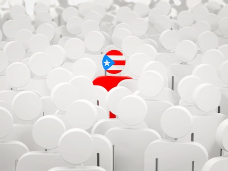 Man with flag of puerto rico in a crowd. 3D illustration
