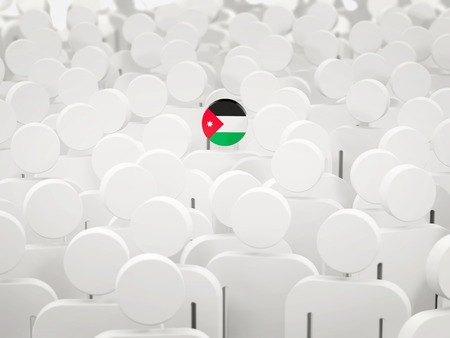 Man with flag of jordan in a crowd. 3D illustration