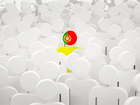 Man with flag of portugal in a crowd. 3D illustration