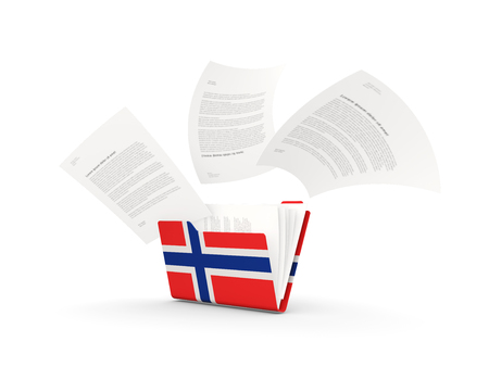 Folder with flag of norway and files isolated on white. 3D illustration Stok Fotoğraf