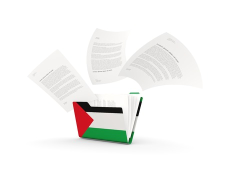 Folder with flag of palestinian territory and files isolated on white. 3D illustration Stock Photo