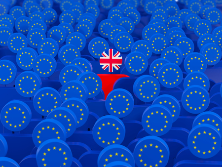 Flags of European Union and United Kingdom. Brexit concept. 3D illustration Stock Photo