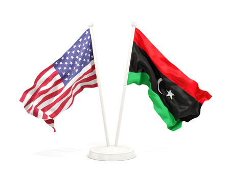 Two waving flags of United States and libya isolated on white. 3D illustration Stock Photo