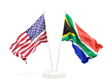 Two waving flags of United States and south africa isolated on white. 3D illustration