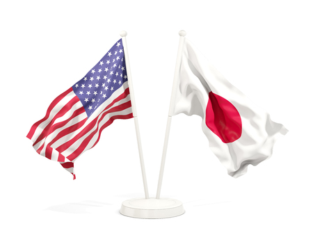 Two waving flags of United States and japan isolated on white. 3D illustration