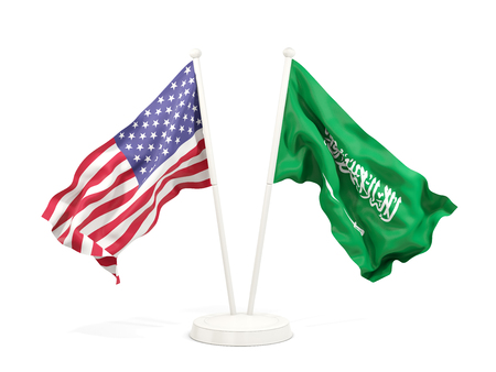 Two waving flags of United States and saudi arabia isolated on white. 3D illustration 写真素材