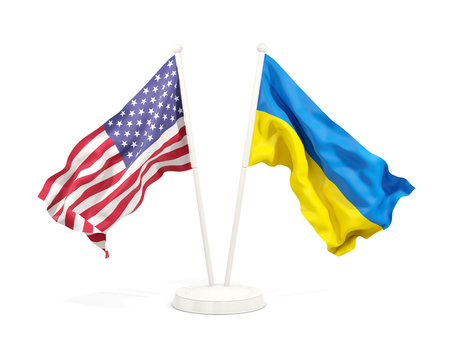 Two waving flags of United States and ukraine isolated on white. 3D illustration