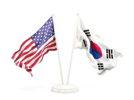 Two waving flags of United States and south korea isolated on white. 3D illustration