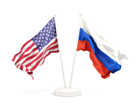 Two waving flags of United States and russia isolated on white. 3D illustration Stock Photo